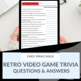 Retro Video Game Trivia Sheet
