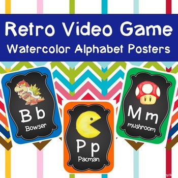 Retro Video Game Watercolor Alphabet Posters