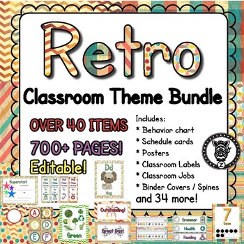 Classroom Theme Decor / Organization - Mega Bundle - Retro
