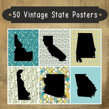 50 USA State Posters - Vintage Design