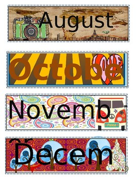 Retro/Vintage Months of the Year