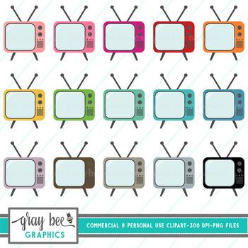 Retro Vintage Television- TV- Clip Art Pack