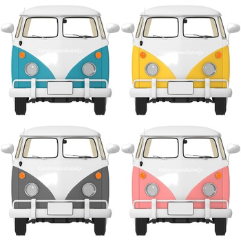 Retro bus Clipart, commercial use digital graphics