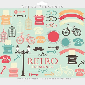 Retro clipart vintage typewriter bike bicycle key glasses bird cage telephone
