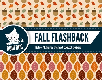 Retro fall themed digital papers autumn leaves, floral and acorns