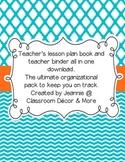 Retro orange, aqua and white teacher planner/binder