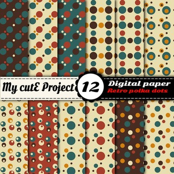Retro polka dots - DIGITAL PAPER - Scrapbooking- A4 & 12x12""