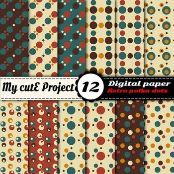 """Retro polka dots - DIGITAL PAPER - Scrapbooking- A4 & 12x12"""""""