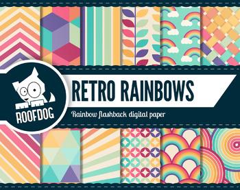 Retro rainbow digital paper