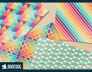 Retro rainbow digital paper