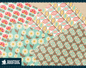 Retro spring floral digital paper