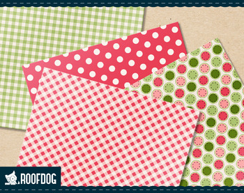 Retro watermelon digital papers summer fruit patterns