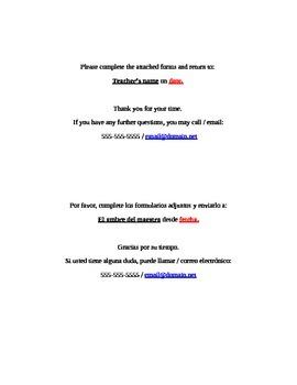 Return Forms Reminder English & Spanish