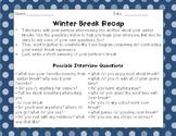 Return From Winter Break Venn Diagram/Writing Activity