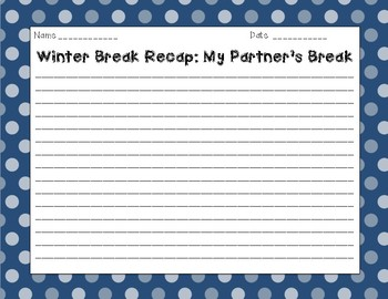 Return From Winter Break Venn Diagram/Writing Activity