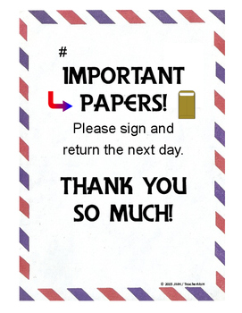 FREE Return Important Papers Note ~ Just English or with Spanish too! FREEBIE