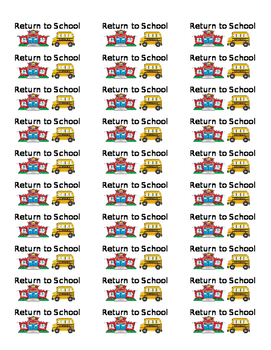 Return To School Labels