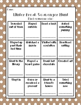 Return from Winter Break Student Scavenger Hunt