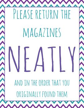 Classroom Organization -- Magazine Poster Printable