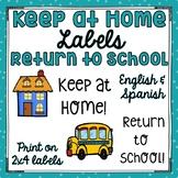 Return to School & Keep at Home Labels