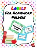 Return to School/Leave at Home Labels for Homework Folder