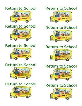 Return to School folder labels