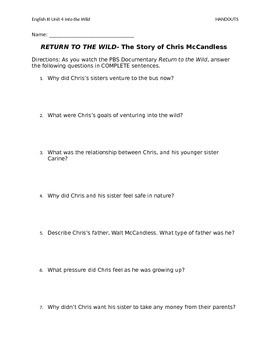 """""""Return to the Wild"""" Documentary Questions"""