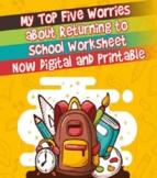 Back to School: My Top Five Worries Activity Sheet