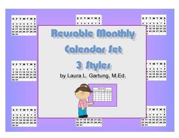 Reusable 11 Month Calendar Set 3 Styles