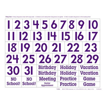 Reusable Calendar Cling Kit by Trend
