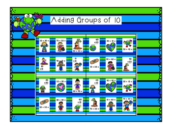 Reusable Earth Day Math Game {Adding and Subtracting groups of 10}