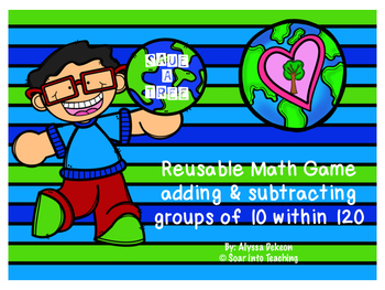 Reusable Earth Day Math Game {Adding and Subtracting group