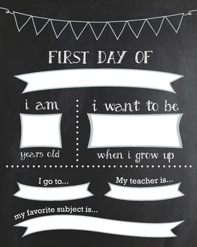 Reusable first day of school printable chalkboard sign by for First day of school sign template
