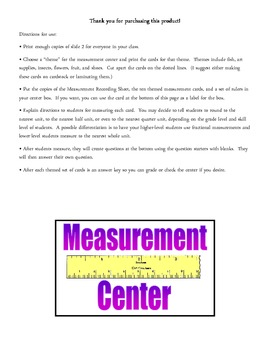 Reusable Math Measurement Center for 2nd-3rd Grade - Commo