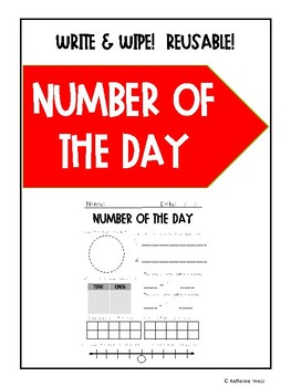 Reusable Number of the Day Write and Wipe Morning Work