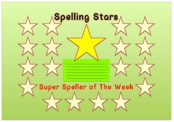 Reusable Spelling Stars Chart