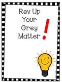 Rev Up Your Grey Matter - Math Interactive Notebook