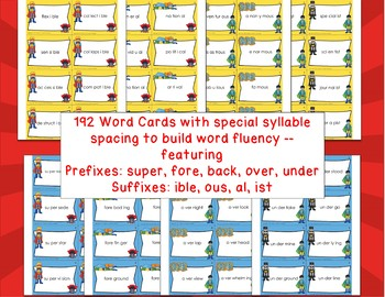 Superhero Escape-Multisyllabic Prefix & Suffix Word Fluency Game