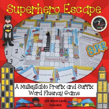 Superhero Escape Multisyllabic Game Prefix and Suffix Word Fluency