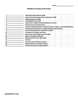 Rev. in Europe and Latin America Vocab. Quiz or Worksheet