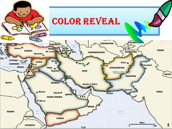 Reveal by Color Map - Middle East Geography Task Cards