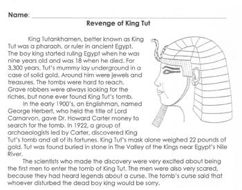 Biography: King Tut Info + 6 Multiple Choice Reading Comprehension Questions