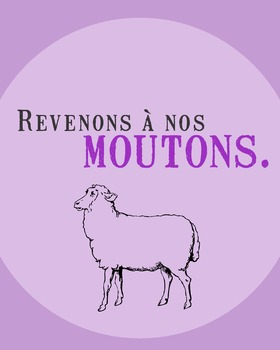Revenons à nos moutons - French saying poster