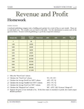 Revenue and Profit - Lesson Plan and Activities
