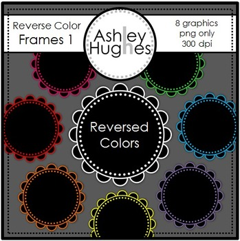 FREE Reverse Color Frames 1 {Graphics for Commercial Use}