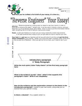 Reverse-Engineering Essay Peer/Self Review Activity