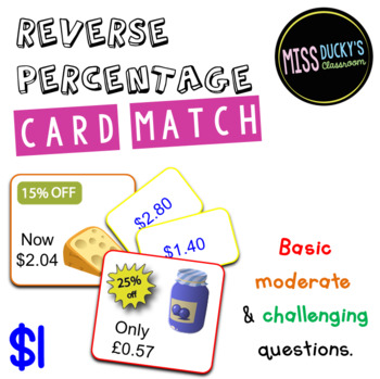 Reverse Percentage Matching Activity