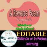 Reverse Poem Poetry Middle High School Google Slides Editable ELA