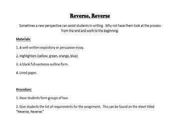 Reverse, Reverse: Tackling Essay Writing Backwords