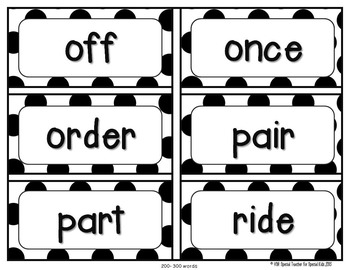Reversed Black and White Polka Dot High Frequency Word Wall Words * Editable *